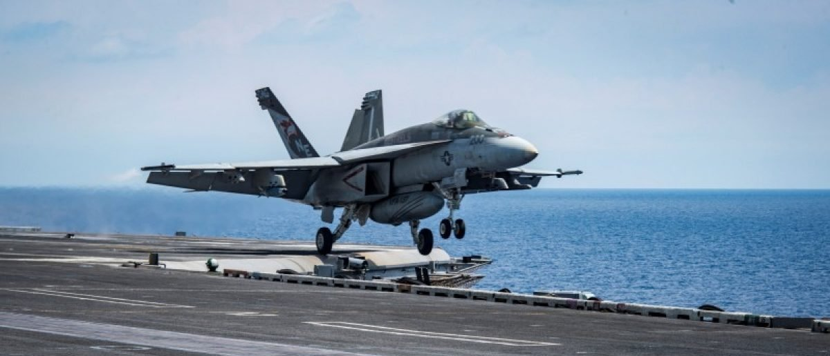 "An F/A-18E Super Hornet from the ""Kestrels"" of Strike Fighter Squadron (VFA) 137 takes off from the aircraft carrier USS Carl Vinson (CVN 70) transiting the South China Sea April 10, 2017. Picture taken April 10, 2017. U.S. Navy photo by Mass Communication Specialist 2nd Class Sean M. Castellano/Handout via REUTERS"