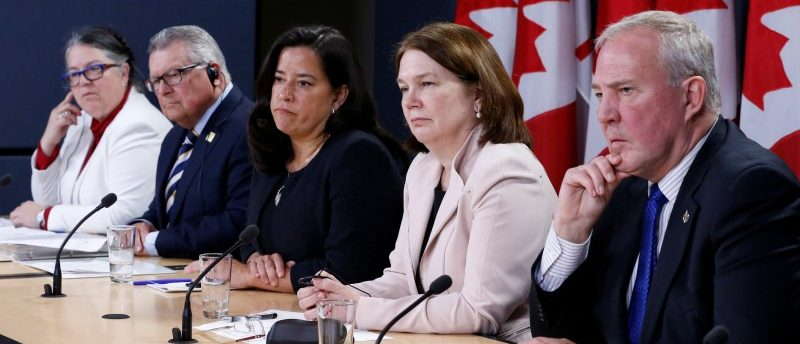 (L-R) Canada's Revenue Minister Diane Lebouthillier, Public Safety Minister Ralph Goodale, Justice Minister Jody Wilson-Raybould, Health Minister Jane Philpott and Bill Blair, the government's point man on the legalised marijuana file, take part in a news conference in Ottawa, Ontario, Canada, April 13, 2017. REUTERS/Chris Wattie