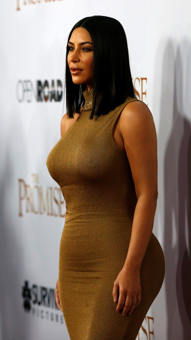 "Television personality Kim Kardashian poses at the premiere of ""The Promise"" in Los Angeles, California U.S., April 12, 2017. REUTERS/Mario Anzuoni"