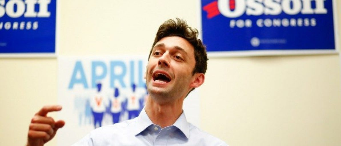 Democratic candidate Jon Ossoff for Georgia's 6th Congressional District special election speaks during an election eve rally at Andretti Indoor Karting and Games in Roswell, Georgia, April 17, 2017. There is a special election tomorrow to fill that seat, which opened after Republican Tom Price was appointed as secretary of Health and Human Services. REUTERS/Kevin D. Liles