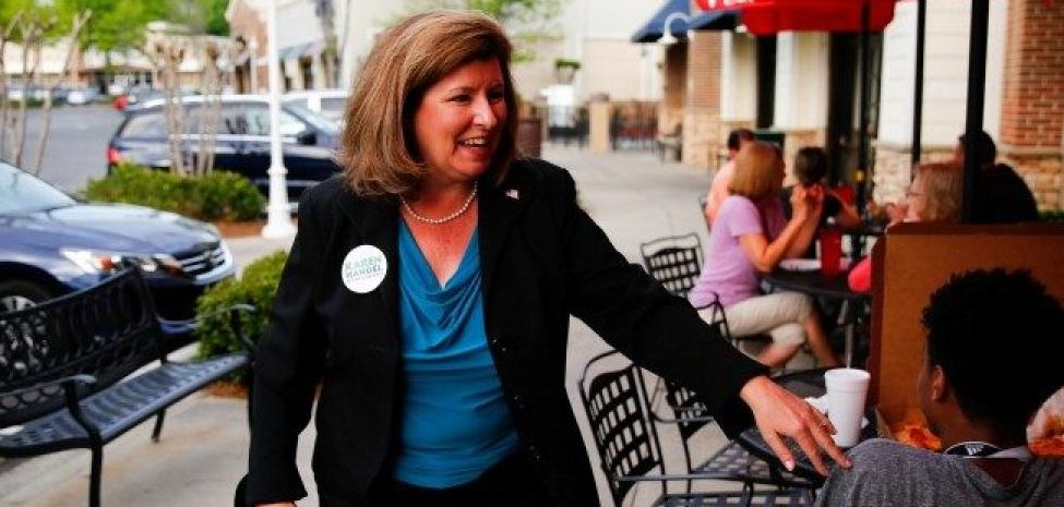 Republican candidate Karen Handel for Georgia's 6th Congressional District special election talks to supporters during a campaign stop at Santino's Italian Restaurant & Pizzeria in Alpharetta, Georgia, April 17, 2017.  There is a special election tomorrow to fill that seat, which opened after Republican Tom Price was appointed as secretary of Health and Human Services. REUTERS/Kevin D. Liles