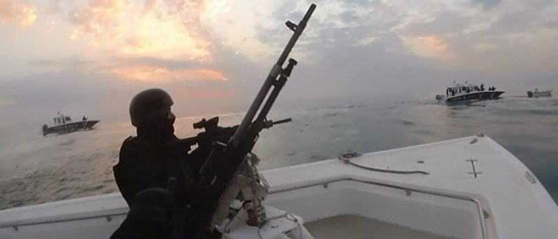 A still image taken from a video provided by Bahraini security officials shows Bahraini forces raiding a speedboat manned by Shi'ite militant fugitives it says were heading for Iran from Bahrain's northeastern coast, February 9, 2017. Bahraini security officials/Handout via REUTERS