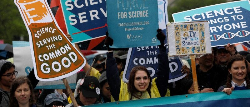 Demonstrators march to the U.S. Capitol during the March for Science in Washington, U.S., April 22, 2017. REUTERS/Aaron P. Bernstein