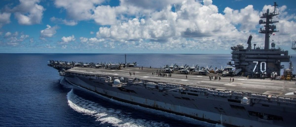 The Nimitz-class U.S. Navy aircraft carrier USS Carl Vinson transits the Philippine Sea while conducting a bilateral exercise with the Japan Maritime Self-Defense Force April 23, 2017. U.S. Navy/Mass Communication Specialist 2nd Class Z.A. Landers/Handout via REUTERS