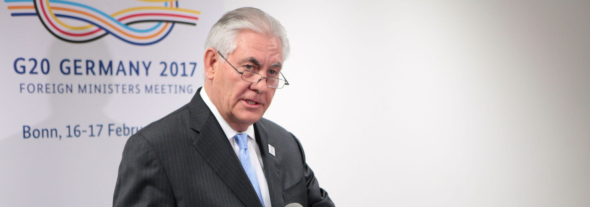 U.S. Secretary of State Rex Tillerson addresses reporters following his bilateral meeting with Russian Foreign Minister Sergey Lavrov on the sidelines of the G-20 Foreign Ministers' Meeting in Bonn, Germany, on February 16, 2017. This is his first official trip as Secretary of State. [State Department photo/ Public Domain]State Department photo/ Public Domain]