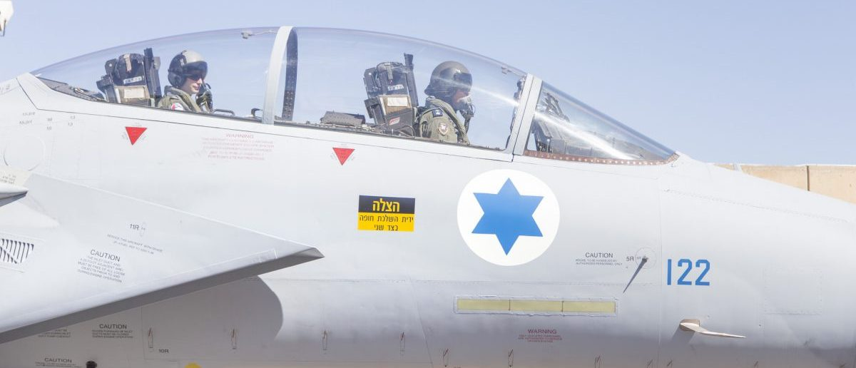 "A plane is fying on the ""Baz"" (F-15) tail number 122 that was reassembled with the rear of another jet. (Photo: Mor Tzidon/ Israeli Air Force Flickr)Photo by: Mor Tzidon Israeli Air Force Flickr"