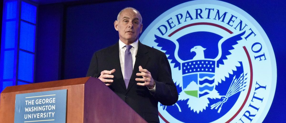 WASHINGTON - Secretary of Homeland Security John Kelly delivers his speech titled Home and Away: DHS and the Threats to America, at George Washington University Center for Cyber and Homeland Security in Washington, D.C., April 17, 2017. Secretary Kelly highlighted the important missions the men and women of the Department do every day to help keep America safe. Official DHS photo by Barry Bahler.