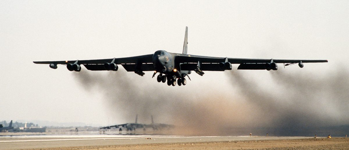 A B-52G Stratofortress bomber aircraft of the 1708th Bomb Wing takes off on a mission during Operation Desert Storm. Air Force/Flickr