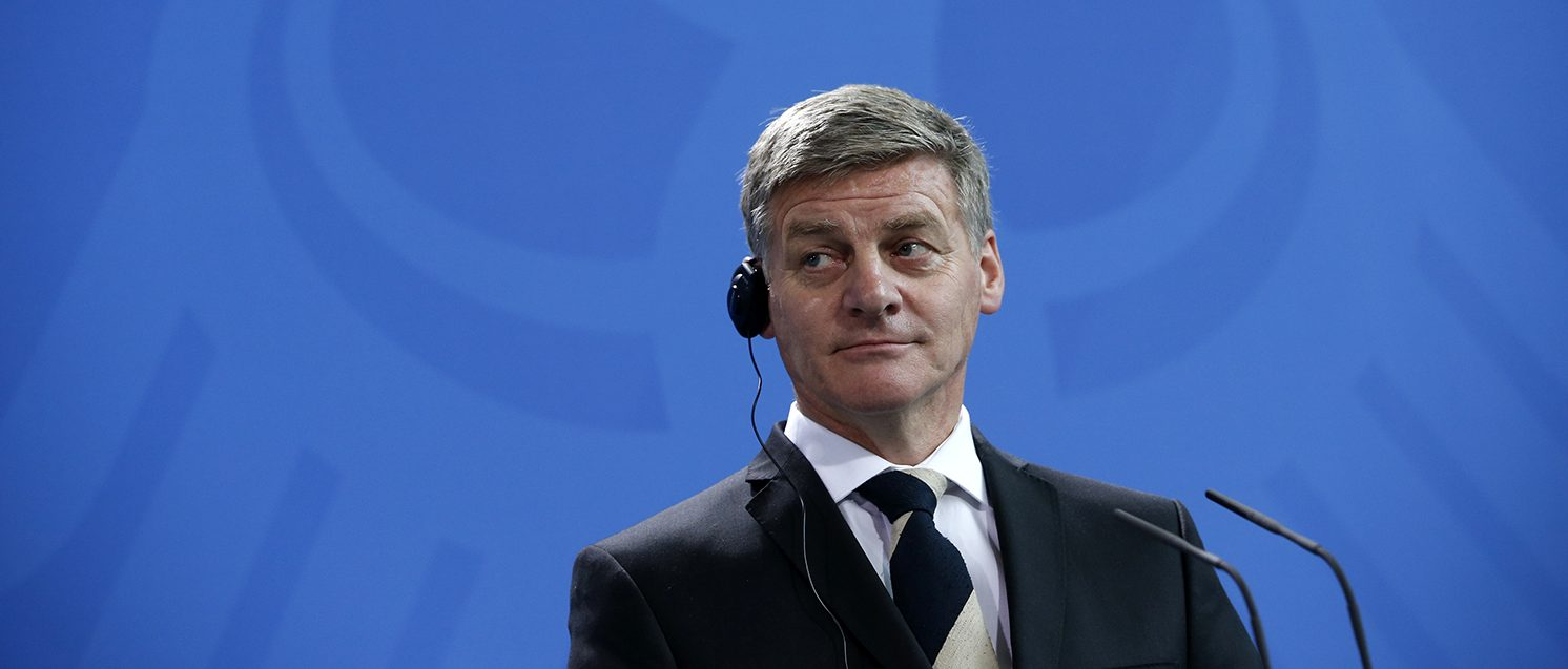 New Zealand Prime Minister Bill English during news conference at the chancellery in Berlin, Germany, January 16, 2017.       (PHOTO: REUTERS/Fabrizio Bensch)