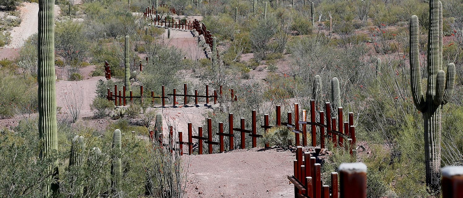 The vehicle barrier on the U.S.- Mexico border weaves around Saguaro cactus in the Sonoran desert on the Tohono O'odham reservation in Chukut Kuk, Arizona April 6, 2017. Picture taken April 6, 2017. The vehicle barrier on the U.S.- Mexico border weaves around Saguaro cactus in the Sonoran desert on the Tohono O'odham reservation in Chukut Kuk, Arizona April 6, 2017. Picture taken April 6, 2017. The vehicle barrier on the U.S.- Mexico border weaves around Saguaro cactus in the Sonoran desert on the Tohono O'odham reservation in Chukut Kuk, Arizona April 6, 2017. Picture taken April 6, 2017. The vehicle barrier on the U.S.- Mexico border weaves around Saguaro cactus in the Sonoran desert on the Tohono O'odham reservation in Chukut Kuk, Arizona April 6, 2017. Picture taken April 6, 2017. (PHOTO: REUTERS/Rick Wilking)