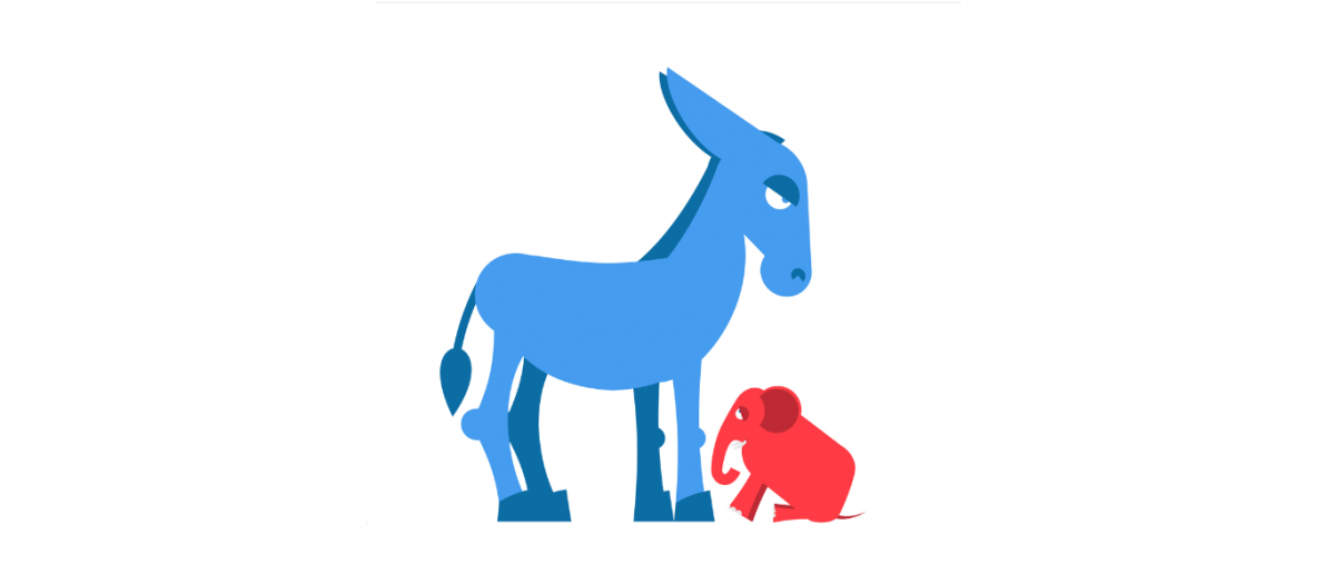 Big donkey and small elephant (Shutterstock/Top Vector Studio)