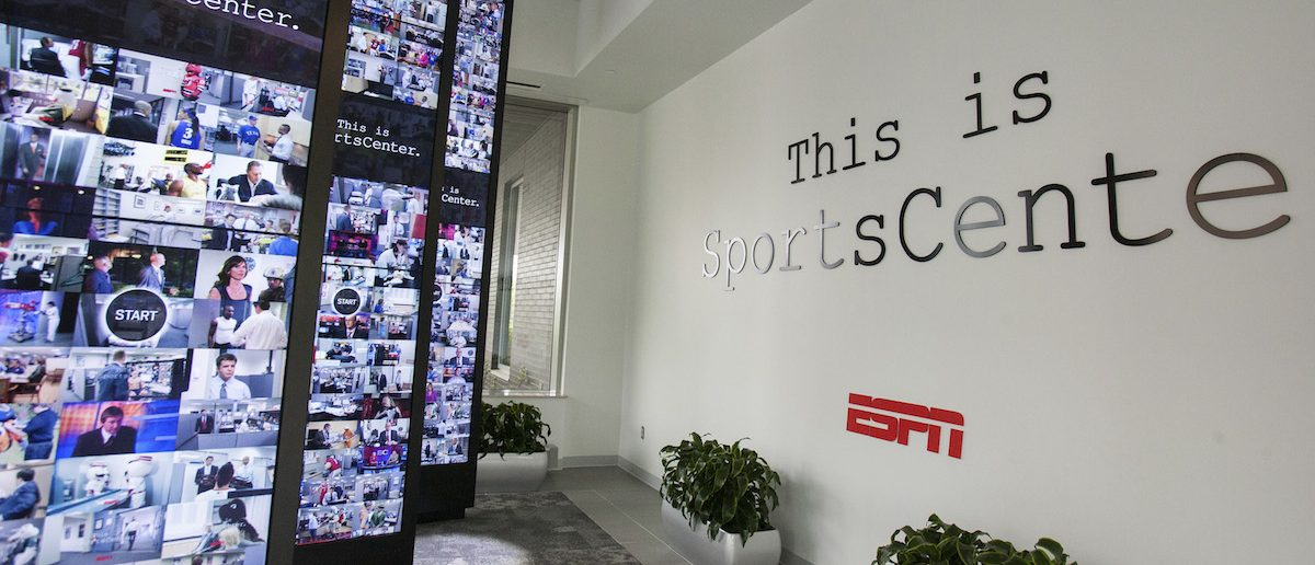 Interactive walls in the lobby of Digital Center 2, a new 194,000 sq. ft building on the ESPN campus in Bristol, Connecticut May 22, 2014 will be the new home of SportsCenter beginning June 2014. The facility includes 5 broadcast studios, 6 production control rooms, 4 audio control rooms and 16 edit suites. REUTERS/Michelle McLoughlin
