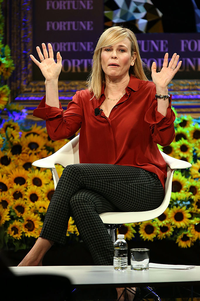 DANA POINT, CA - OCTOBER 19: Chelsea Handler speaks onstage at the Fortune Most Powerful Women Summit 2016 at Ritz-Carlton Laguna Niguel on October 19, 2016 in Dana Point, California. (Photo by Joe Scarnici/Getty Images for Fortune)