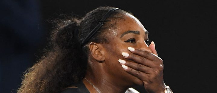 Serena Williams of the US celebrates her victory against Venus Williams of the US during the women's singles final on day 13 of the Australian Open tennis tournament in Melbourne on January 28, 2017. (Photo credit: WILLIAM WEST/AFP/Getty Images)
