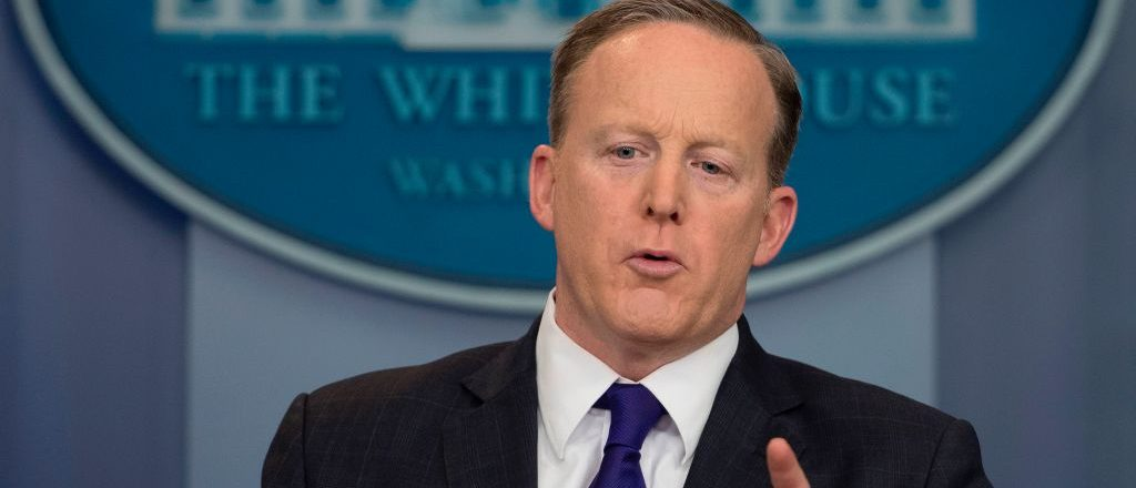 White House press secretary Sean Spicer speaks during the Daily Briefing at the White House in Washington, D.C., March 30, 2017. (Photo credit: JIM WATSON/AFP/Getty Images)
