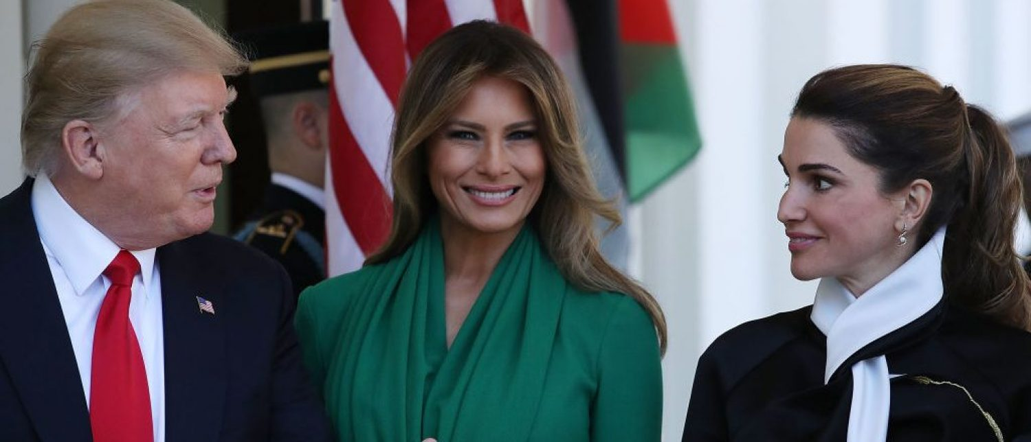 WASHINGTON, DC - APRIL 05:  U.S. President Donald Trump and his wife first lady Melania Trump welcome Queen Rania, wife of King Abdullah II of Jordan at the West Wing of the White House, on April 5, 2017 in Washington, DC. Later today President Trump and King Abdullah II of Jordan will speak to the media during a news conference in the Rose Garden.  (Photo by Mark Wilson/Getty Images)