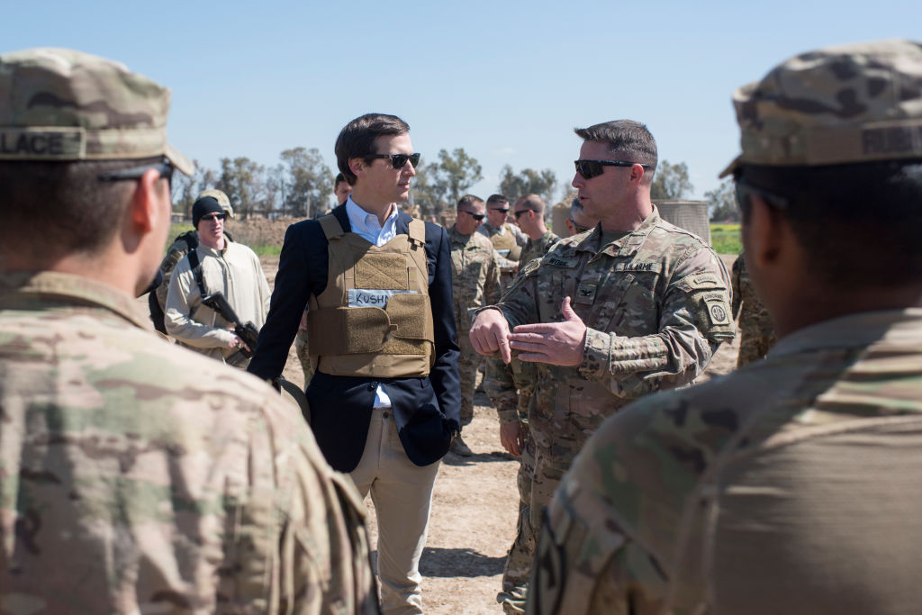 QAYYARAH WEST, IRAQ - APRIL 04: In this handout provided by the Department of Defense (DoD), Jared Kushner, Senior Advisor to President Donald J. Trump, meets with service members at a forward operating base near Qayyarah West in Iraq, April 4, 2017. (Photo by Dominique A. Pineiro/DoD via Getty Images)