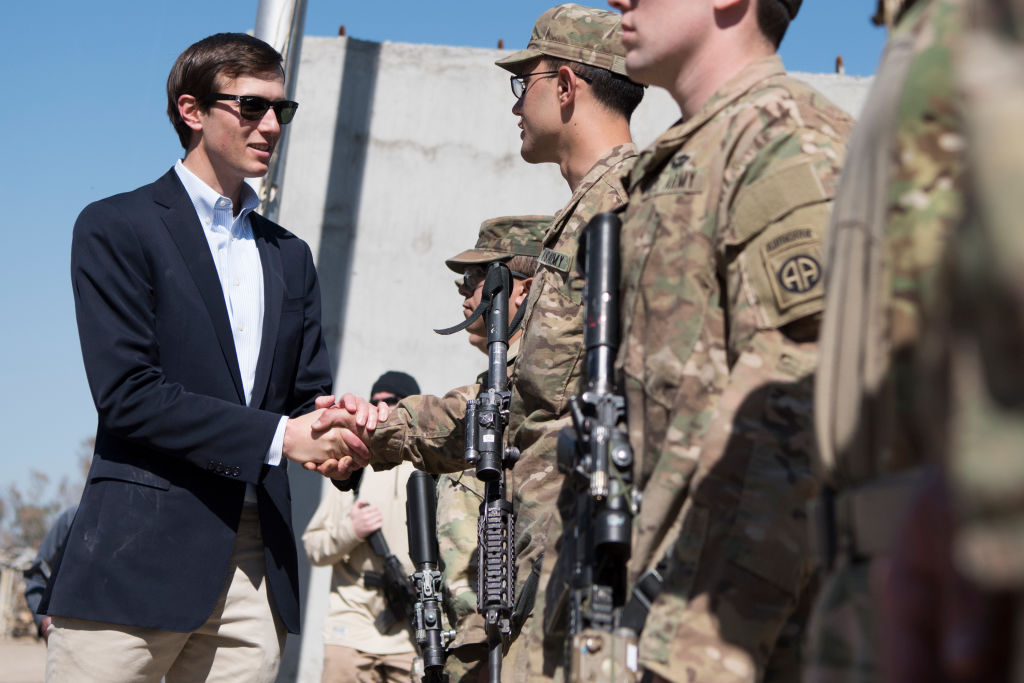 QAYYARAH WEST, IRAQ - APRIL 04: In this handout provided by the Department of Defense (DoD), Jared Kushner, Senior Advisor to President Donald J. Trump meets with Service Members at a forward operating base near Qayyarah West in Iraq, April 4, 2017. (Photo by Dominique A. Pineiro/DoD via Getty Images)