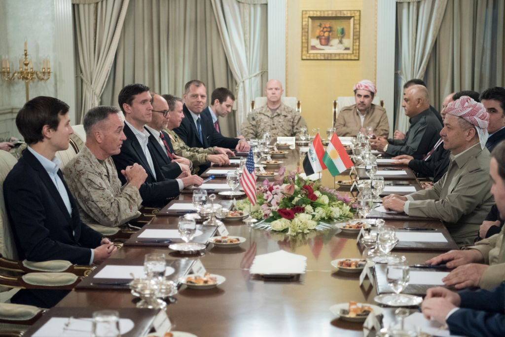 ERBIL, IRAQ - APRIL 04: In this handout provided by the Department of Defense (DoD), Jared Kushner, Senior Advisor to President Donald J. Trump, Marine Corps Gen. Joseph F. Dunford Jr., chairman of the Joint Chiefs of Staff, Tom Bossert, the president's homeland security advisor, and Douglas A. Silliman, U.S. Ambassador to the Republic of Iraq, and Lt. Gen. Stephen J. Townsend, commander, Combined Joint Task Force --Operation Inherent Resolve, meet with the President of Iraqi Kurdistan Masoud Barzan near Erbil, Iraq, April 4, 2017. (Photo by Dominique A. Pineiro/DoD via Getty Images)