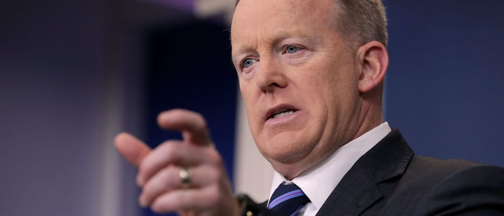"""WASHINGTON, DC - APRIL 10: White House Press Secretary Sean Spicer answers reporters' questions during the daily news conference in the Brady Press Briefing Room at the White House April 10, 2017 in Washington, DC. Spicer decribed President Donald Trump's meeting with Jordan's King Abdullah as """"unbelieveable"""" and that Trump's decision to launch missile strikes on Syria received """"world praise."""" (Photo by Chip Somodevilla/Getty Images)"""