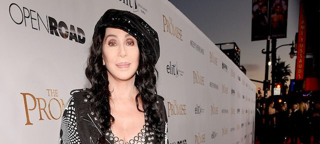 "HOLLYWOOD, CA - APRIL 12: Singer/actor Cher attends the premiere of Open Road Films' ""The Promise"" at TCL Chinese Theatre on April 12, 2017 in Hollywood, California. (Photo by Kevork Djansezian/Getty Images)"