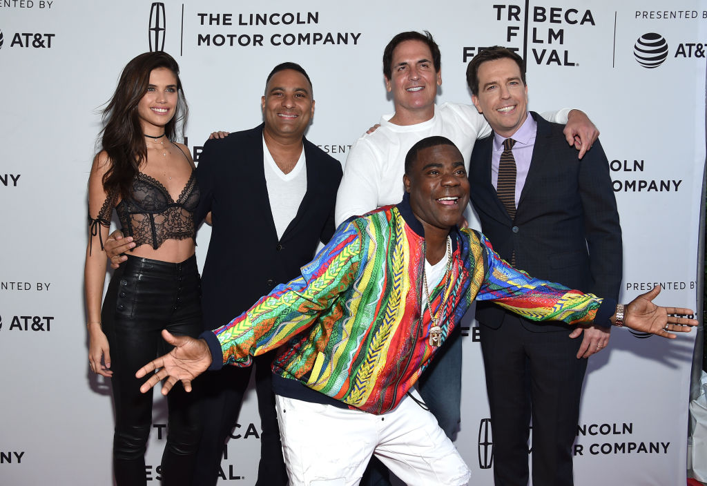 "Actress Sara Sampaio, actor Russell Peters, TV Personality Mark Cuban, actor Tracy Morgan and producer Ed Helms attend ""The Clapper"" Premiere during the 2017 Tribeca Film Festival at SVA Theatre on April 23, 2017 in New York City. (Photo by Jamie McCarthy/Getty Images for Tribeca Film Festival)"