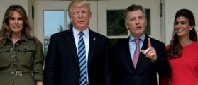 (L-R)US First Lady Melania Trump, US President Donald Trump, Argentina's President Mauricio Macri, and Argentina's First Lady Juliana Awada pose outside the West Wing of the White House April 27, 2017 in Washington, DC. BRENDAN SMIALOWSKI/AFP/Getty Images
