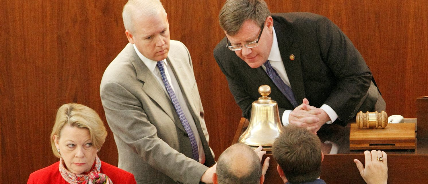 Speaker of the North Carolina House of Representatives Tim Moore (R, top) confers with colleagues as the state's legislature convenes to consider repealing the controversial HB2 law limiting bathroom access for transgender people in Raleigh, North Carolina, U.S. on December 21, 2016. (PHOTO: REUTERS/Jonathan Drake)