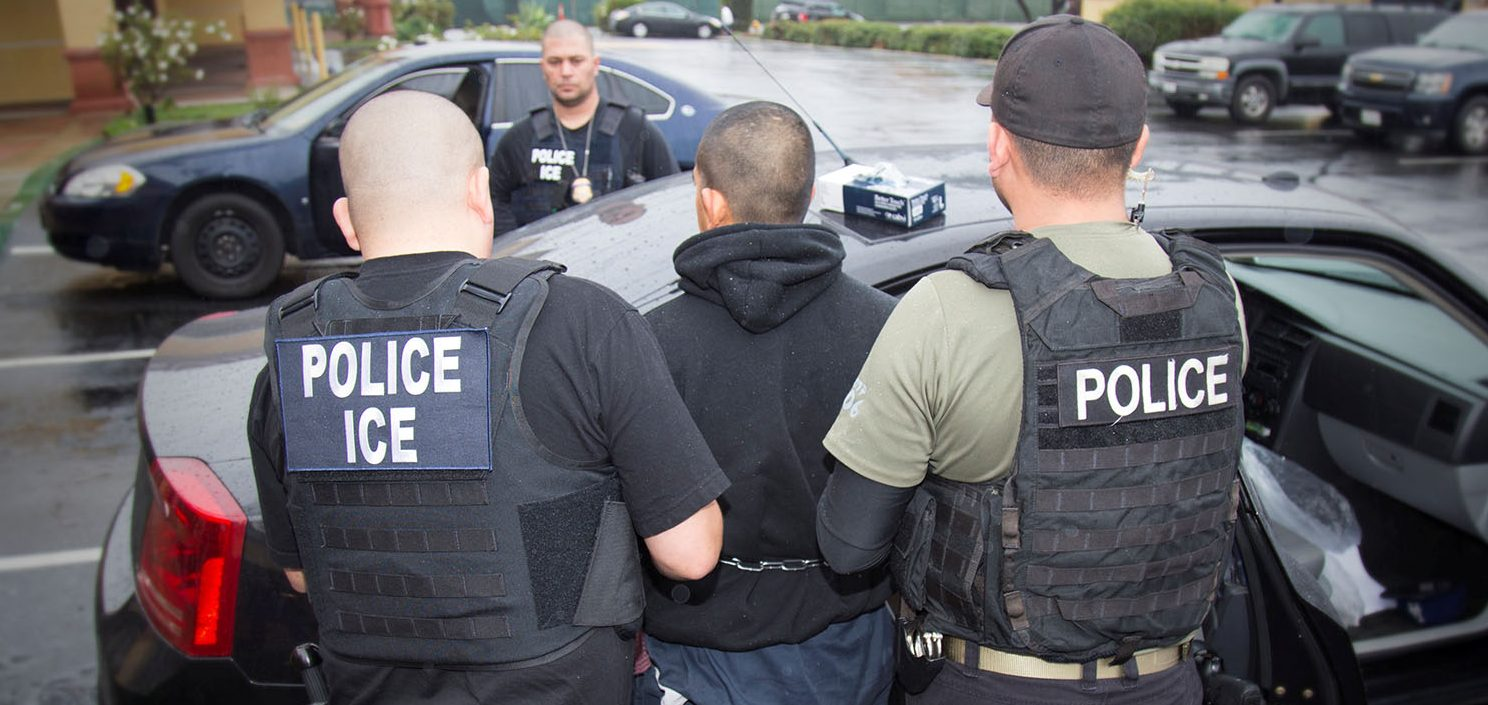 U.S. Immigration and Customs Enforcement (ICE) officers detain a suspect as they conduct a targeted enforcement operation in Los Angeles, California, U.S. on February 7, 2017. Picture taken on February 7, 2017. (PHOTO: Charles Reed/U.S. Immigration and Customs Enforcement)