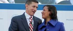 White House National Security Adviser Susan Rice (R) and former Defense Intelligence Agency Director retired Army Lt. Gen. Michael Flynn, incoming White House national security adviser, shake hands at the U.S. Institute of Peace