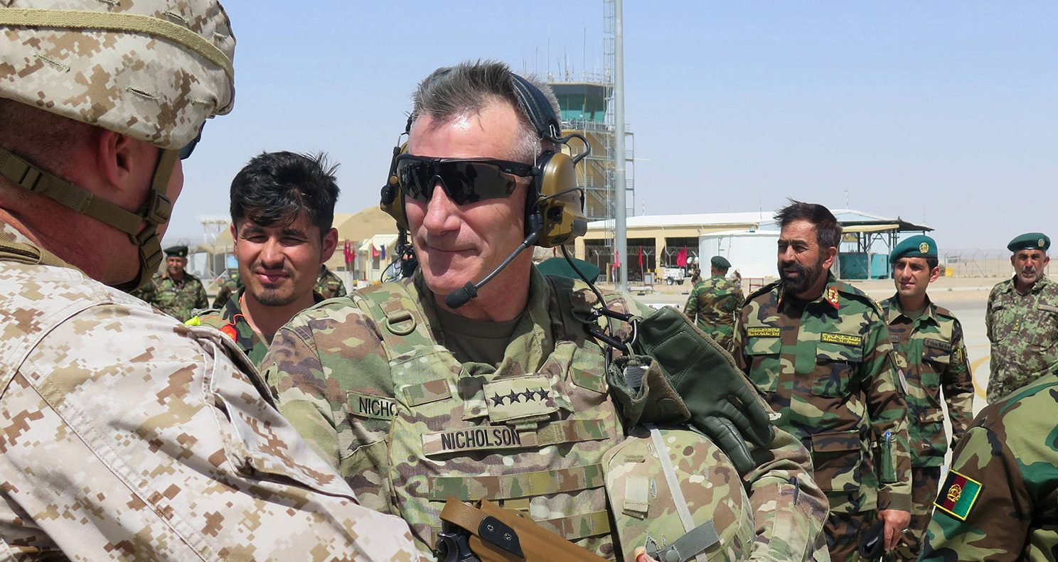 U.S. Army General John Nicholson, commander of Resolute Support forces and U.S. forces in Afghanistan, arrives during a transfer of authority ceremony at Shorab camp, in Helmand province, Afghanistan April 29, 2017. Picture taken April 29, 2017. (PHOTO: REUTERS/James Mackenzie)