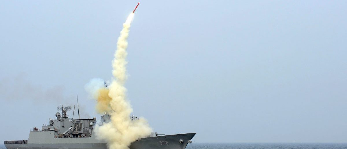 A South Korean navy destroyer launches an indigenous cruise missile during a drill. REUTERS/South Korean Navy/Handout.