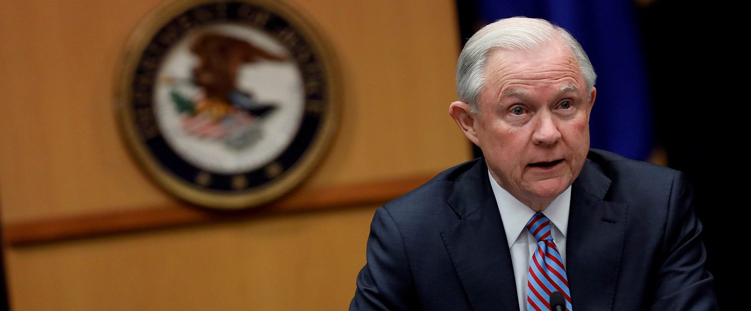Attorney General Jeff Sessions speaks during a meeting with the Organized Crime Council and Organized Crime Drug Enforcement Task Force Executive Committee in Washington, D.C., U.S. April 18, 2017. (PHOTO: REUTERS/Aaron P. Bernstein)