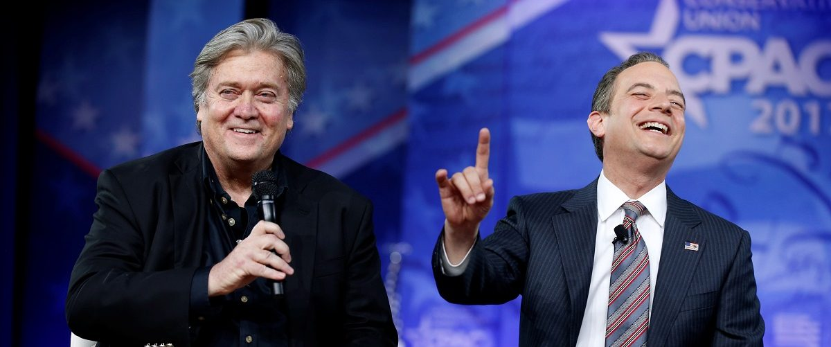 White House Chief Strategist Stephen Bannon and White House Chief of Staff Reince Priebus speak at the Conservative Political Action Conference (CPAC) in National Harbor, Maryland