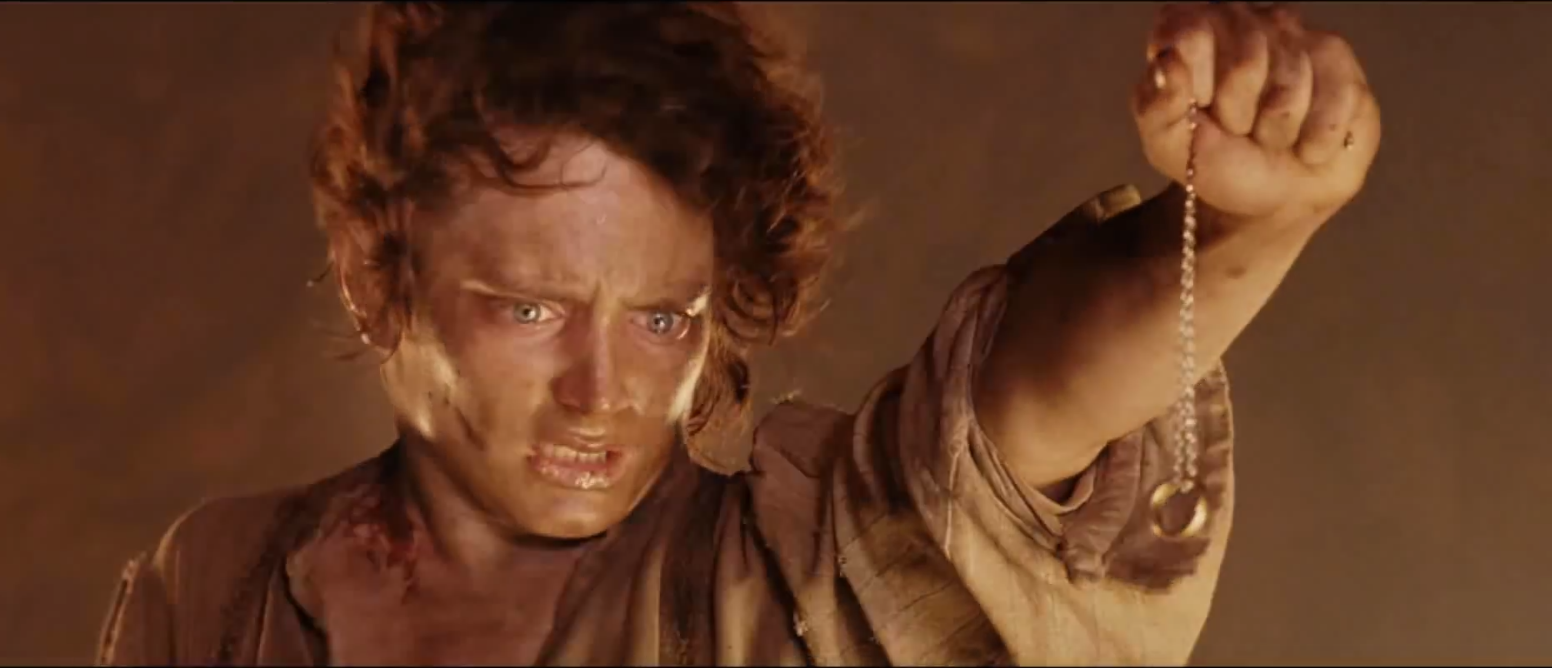 Frodo holding the One Ring over the Crack of Doom (Media credit: YouTube)