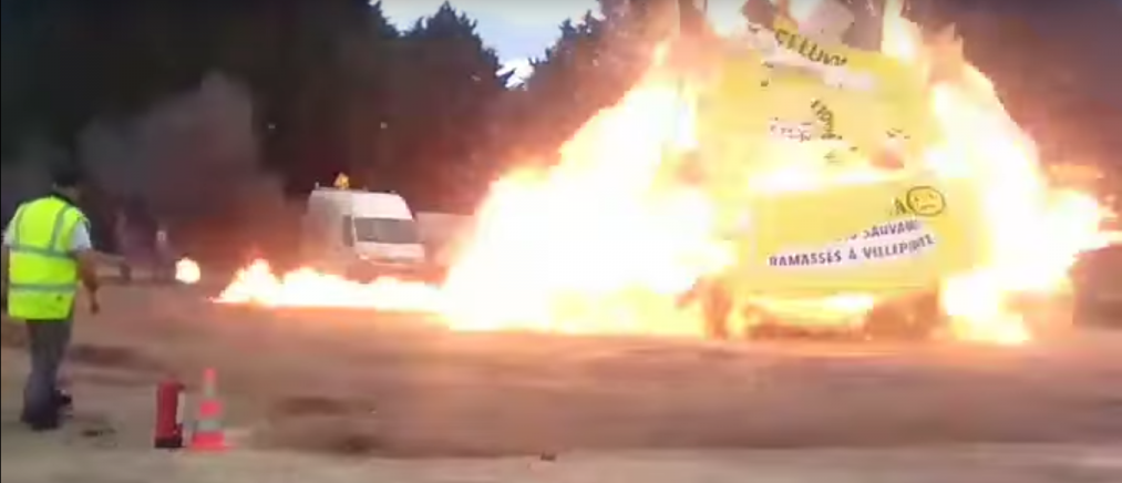 An effigy explodes at a Paris carnival. Source: YouTube screenshot