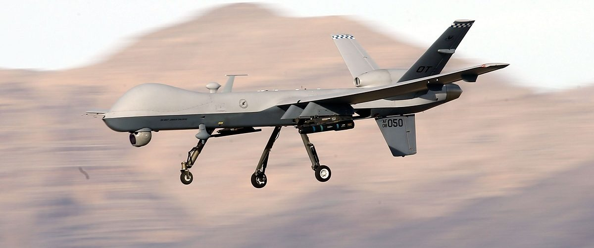 An MQ-9 Reaper during a training mission at Creech Air Force Base. Isaac Brekken/Getty Images.