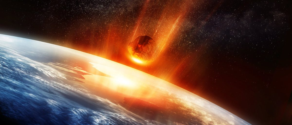 A large Meteor burning and glowing as it hits the earth's atmosphere. 3D illustration. (Shutterstock/ solarseven)