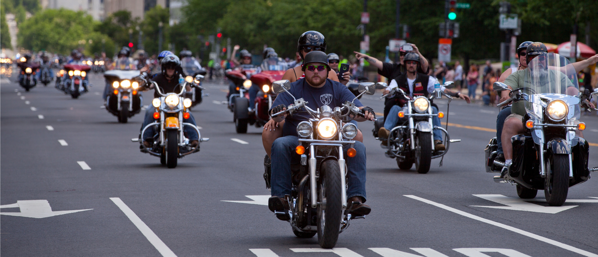 Motorcycles travel in DC as part of the annual Rolling Thunder motorcycle Ride for Freedom for American POWs and MIA soldiers on May 25, 2014 in Washington, DC (Photo: Shutterstock/Huguette Roe)