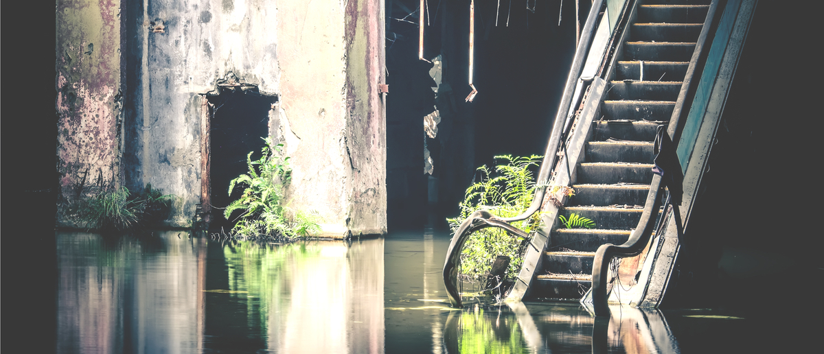 An abandoned, flooded mall. (Photo: Shutterstock/Perfect Lazybones)