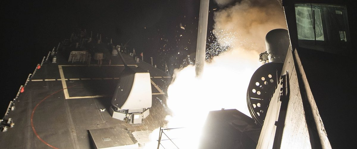 USS Ross (DDG 71) fires a tomahawk land attack missile April 7, 2017. USS Ross, an Arleigh Burke-class guided-missile destroyer, forward-deployed to Rota, Spain, is conducting naval operations in the U.S. 6th Fleet area of operations in support of U.S. national security interests in Europe and Africa. U.S. Navy photo by Mass Communication Specialist 3rd Class Robert S. Price/Released.