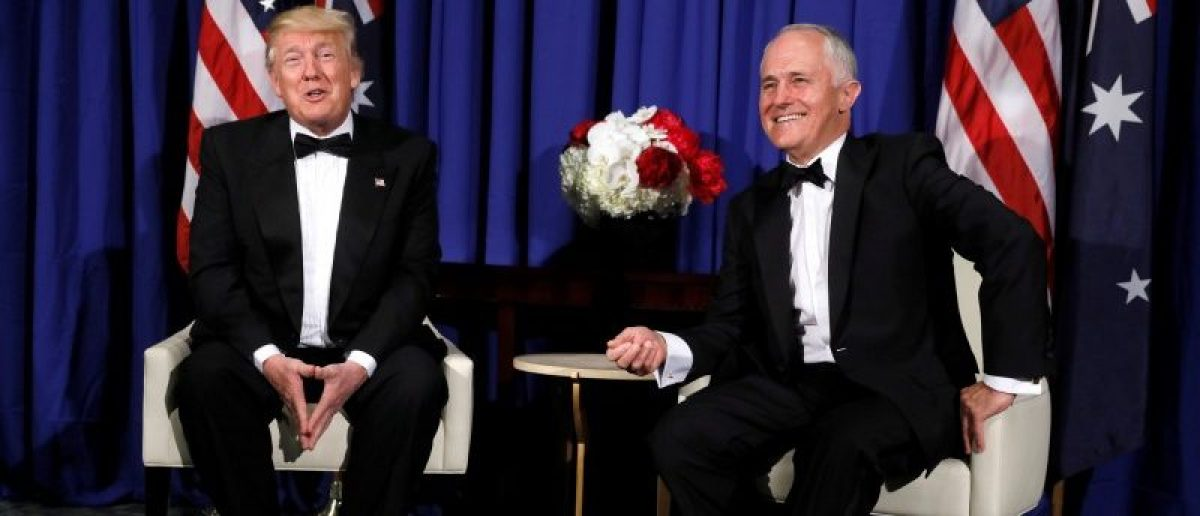 U.S. President Donald Trump meets with Australia's Prime Minister Malcolm Turnbull ahead of an event commemorating the 75th anniversary of the Battle of the Coral Sea, aboard the USS Intrepid Sea, Air and Space Museum in New York, U.S. May 4, 2017. REUTERS/Jonathan Ernst
