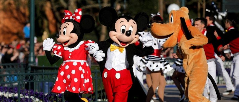 FILE PHOTO: Disney characters Mickey Mouse and Minnie Mouse attend the 25th anniversary of Disneyland Paris at the park in Marne-la-Vallee, near Paris, France, April 12, 2017. REUTERS/Benoit Tessier/File Photo