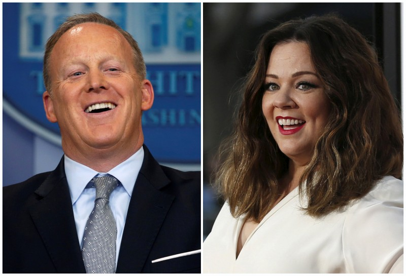 FILE PHOTO: A combination photo shows actress Melissa McCarthy in Los Angeles, California, U.S. on March 28, 2016 and White House Press Secretary Sean Spicer at the White House in Washington, U.S. May 1, 2017. REUTERS/Mario Anzuoni, Jonathan Ernst/File Photo