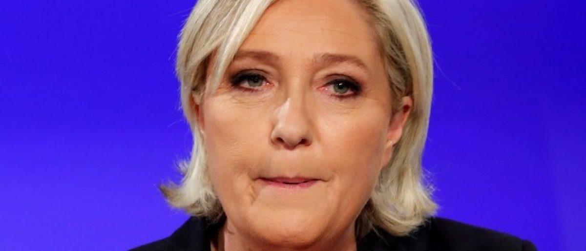 Marine Le Pen concedes defeat at the Chalet du Lac in the Bois de Vincennes in Paris. REUTERS/Charles Platiau