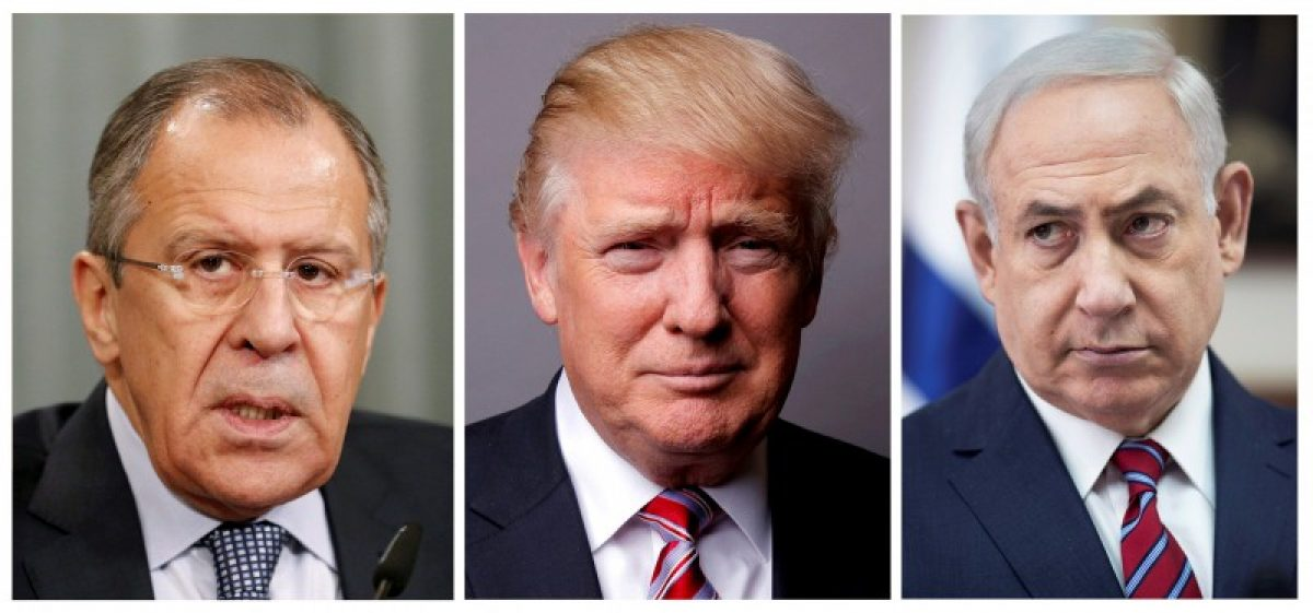 FILE PHOTO: A combination of file photos showing Russian Foreign Minister Sergei Lavrov (L) attending a news conference in Moscow, Russia, November 18, 2015, U.S. President Donald Trump posing for a photo in New York City, U.S., May 17, 2016 and Israeli Prime Minister Benjamin Netanyahu (R) during a cabinet meeting in Jerusalem May 14, 2017. REUTERS/Maxim Zmeyev/Lucas Jackson/Abir Sultan/Pool/File Photo