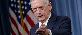 Defense Secretary James Mattis gestures