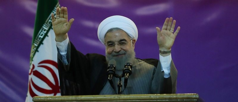 Iran's President Hassan Rouhani gestures during a ceremony celebrating International Workers' Day, in Tehran, Iran, May 1, 2017. Picture taken May 1, 2017.  President.ir/Handout via REUTERS ATTENTION EDITORS - THIS PICTURE WAS PROVIDED BY A THIRD PARTY. FOR EDITORIAL USE ONLY. NO RESALES. NO ARCHIVE.