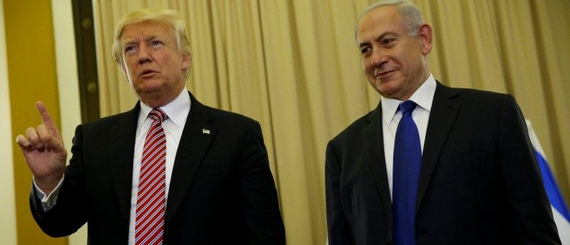 U.S. President Donald Trump (L) and Israel's Prime Minister Benjamin Netanyahu speak to reporters before their meeting at the King David Hotel in Jerusalem May 22, 2017. REUTERS/Jonathan Ernst