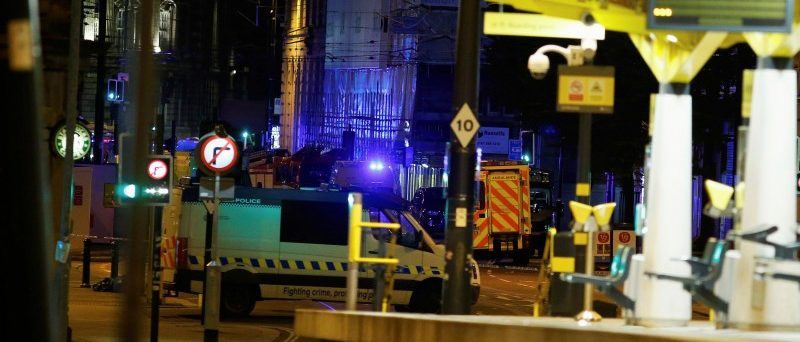 A police vehicle is seen outside the Manchester Arena, where U.S. singer Ariana Grande had been performing in Manchester, northern England, Britain May 23, 2017. REUTERS/Andrew Yates